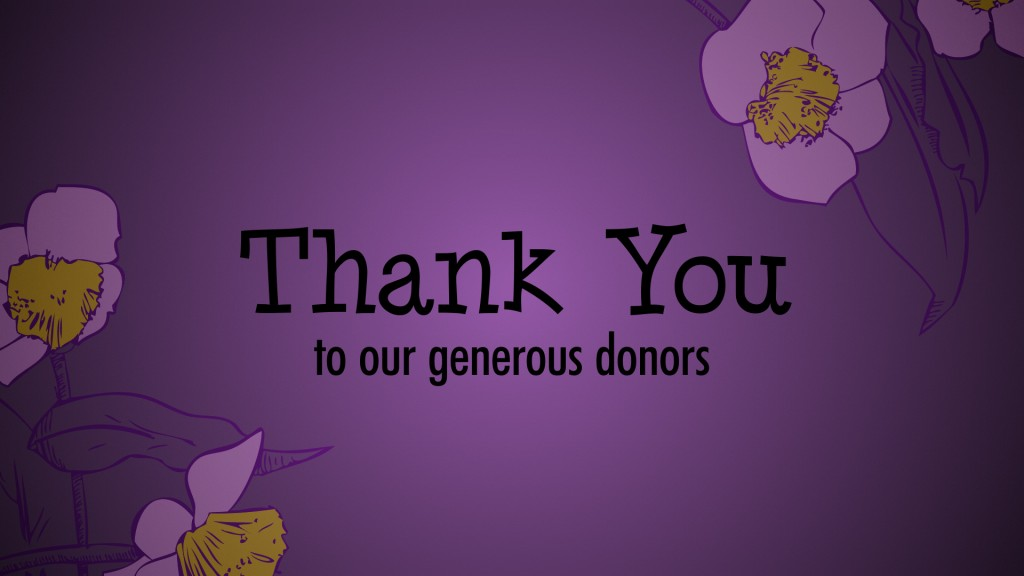 Thank You to our generous donors (purple)